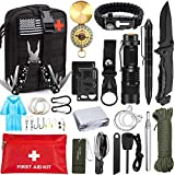 Emergency Survival Kit 47 in 1 Professional Survival Gear Tool First Aid Kit SOS Emergency Tactical Flashlight Knife Pliers Pen Blanket Bracelets...
