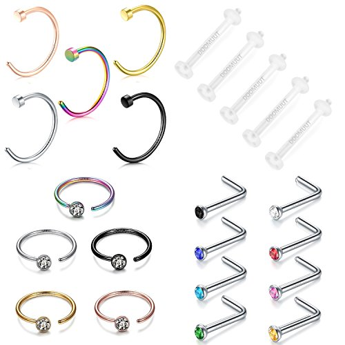 Septum Jewelry, 5PCS-19PCS 316L Stainless Steel Piercing Nose Ring Nose Screw Rings (23 Pcs) ()