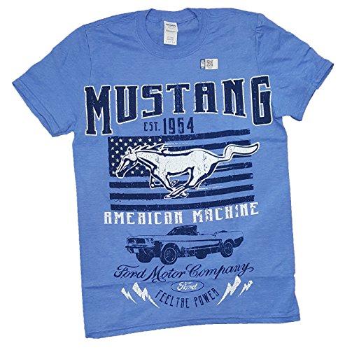 Ford Mustang American Machine Blue Graphic T-Shirt - Medium -