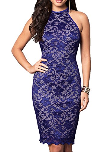 WOOSEA Women's Elegant Sleeveless Floral Lace Vintage Midi Cocktail Party Dress (Large, Navy Blue)