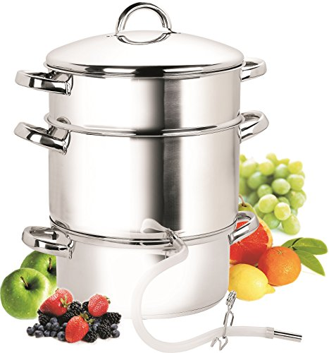 Cook N Home NC-00256 28cm 11-Quart Stainless Steel Fruit Juicer Steamer Multipot, Silver (Steamer Stainless)