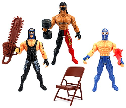 - Velocity Toys XTR Masters of the Ring Wrestling Toy Figure Play Set w/ 3 Toy Figures, Accessories