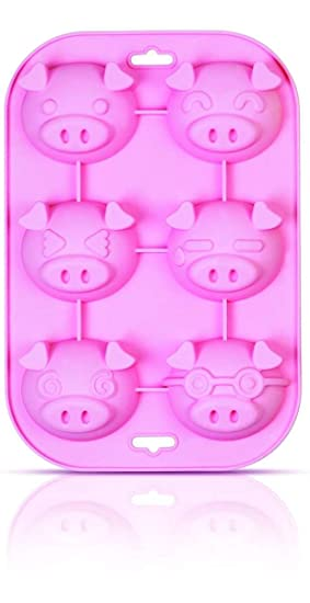 SiliconeZone Piggy Collection Non-Stick Silicone 6-Cup Muffin Mold, Pink Baking Tools & Accessories at amazon