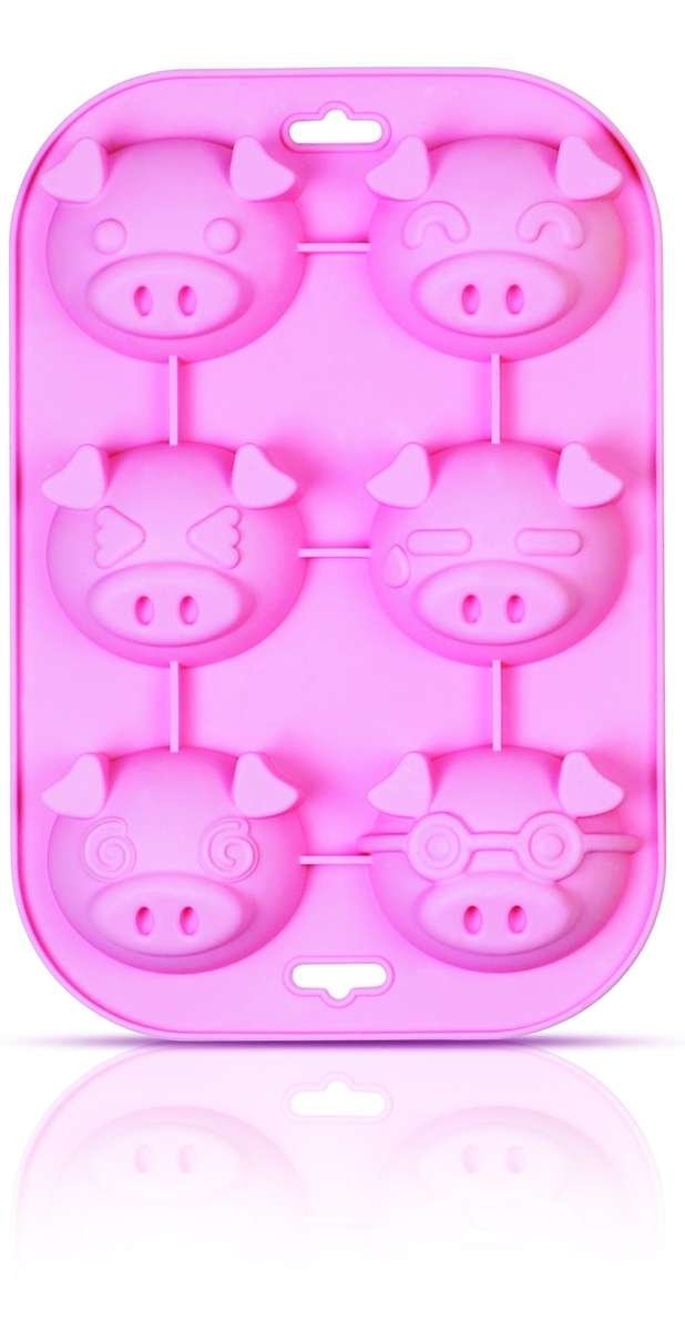 SiliconeZone Piggy Collection Non-Stick Silicone 6-Cup Muffin Mold, Pink