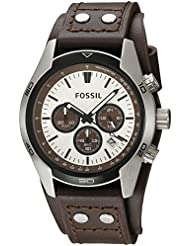 Fossil Men's 'Sport Cuff' Quartz Stainless Steel and Leather Casual Watch, Color:Beige (Model: CH2565)