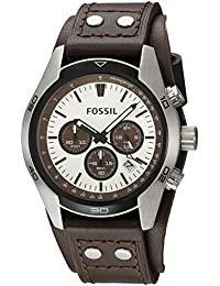 Men's Coachman Quartz Stainless Steel and Leather Casual Watch Color: Silver, Brown (Model: CH2565)