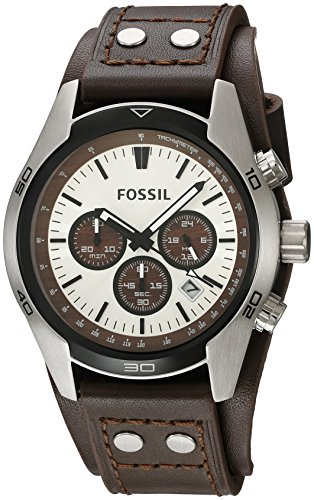 Fossil Men's 'Sport Cuff' Quartz Stainless Steel and Leather Casual Watch, Color:Beige (Model: - Band Leather Watch Fossil