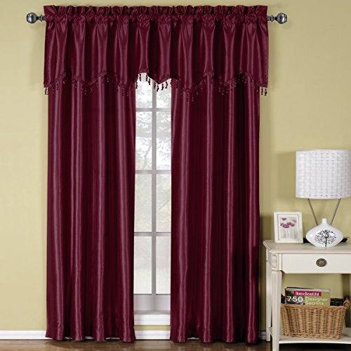 Exquisite Draperies Soho Rod Pocket Faux Silk Window Treatments, Contemporary Décor Panels & Valances, Panels Available in 63, 84, 96 & 108 Inches Length, Complete Modern Look With Matching Valance, (Silk Scarf Valance)