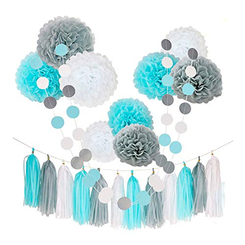 Baby Boy Party Decorations-Tissue Pom Poms Blue White Grey, Tassel Garland, Circle Garland 23pcs for Baby Shower Decorations 1st Birthday Boys Kids Men Adults Party Favor Supplies Decor Kit Set