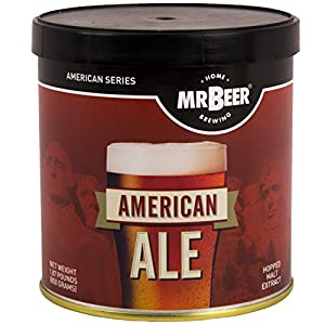 Mr. Beer American Ale 2 Gallon Homebrewing Craft Beer Making Refill Kit with Sanitizer, Yeast and All Grain Brewing Extract