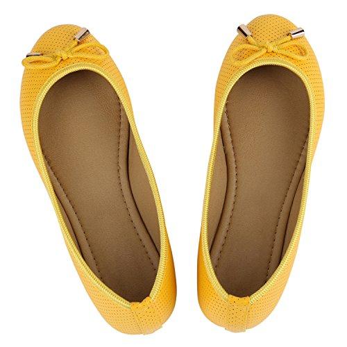 Klassische Damen Ballerinas Ballerina Schuhe Lack Leder-Optik Flats Metallic Slip Ons Schleifen Glitzer Slipper Übergrößen Flandell Gelb Schleifen
