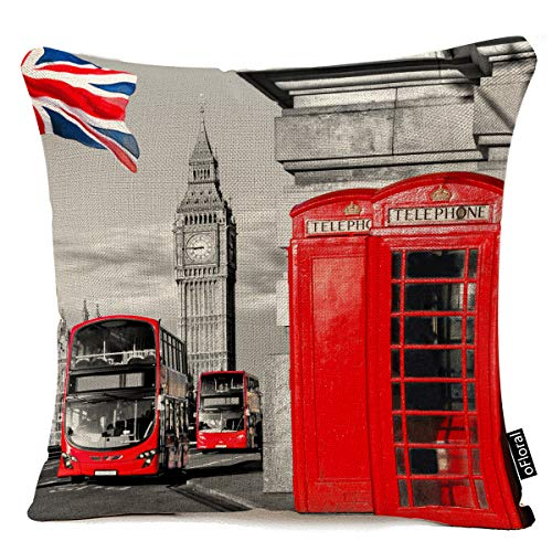 London Throw Pillow Cushion Cover, London Telephone Booth in The Street Traditional Local Cultural Icon England UK Retro, Decorative Square Accent Pillow Case, 18 X 18 Inches, Red Grey