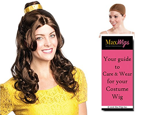 Beauty Belle Princess Color Brown - Enigma Wigs Women's Bell Beast Our Guest Bundle With Wig Cap, MaxWigs Costume Wig Care (Bella Beauty And The Beast Costume)