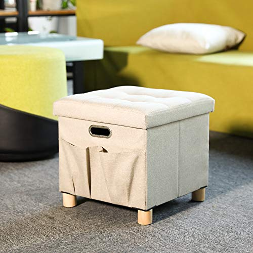 Cassilia Hole Handles Folding Storage Ottoman Cube Footrest Seat, Coffee Table, Versatile Space-Saving Toy Box with Wooden Feet and Storage Pockets, 15 x 15 x 14 inch (Khaki) (Ottoman Versatile)