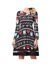 StarTreene Women Christmas Fancy Dress Vintage Classy Floral Swing Midi Skirt