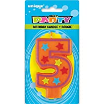 Decorative Stars Number 5 Birthday Candle