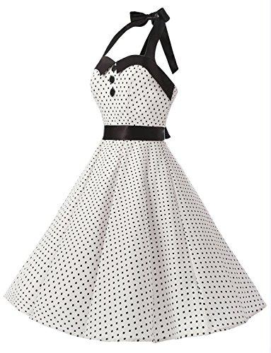 Lunares 60s Halter Flores Mujer Corto Vintage Vestidos 50s Dressystar Fiesta y Estampado Cuello Rockabilly White Retro Sgq0n7wB