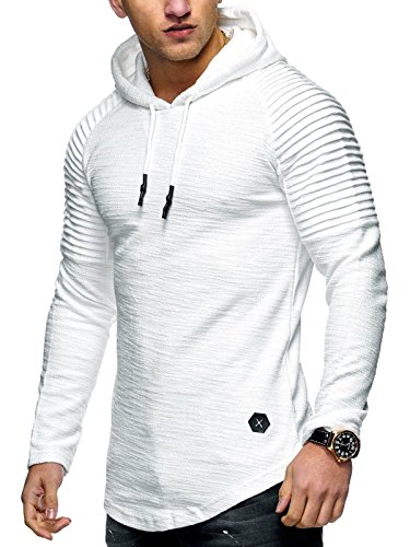 Behype Men's Sweater Jumper Hoodie Sweatshirt Pullover Longsleeve Tops MT-7421 (White,L) - Le Top Jumper
