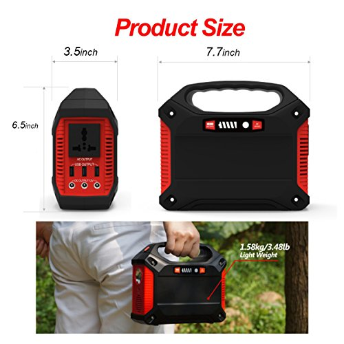 Portable Generator Power Inverter 42000mAh 155Wh Rechargeable Battery Pack Emergency Power Supply for Outdoor Camping Home Charged by Solar Panel Wall Outlet Car with 110V AC Outlet 3 DC 12V USB Port by ISUNPOW (Image #3)