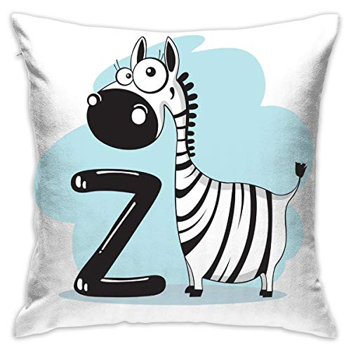 GAWERLON Contracted -Cartoon-Humour-Stock-Photography-Royalty-Free-Zebra-and-The-Letter-z-high-Definition-Buckle-Mate Pillow White One Size Square Pillow