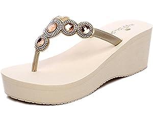 REDVOLUTION New Women's Rhinestone Sandals Platform T Strap