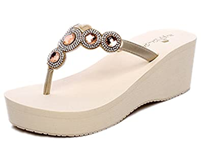a9fe553f4 ANBOVER Womens Summer High Wedge Beach Sandals Rhinestone Bohemia Flip-flops  Platform Beige-35