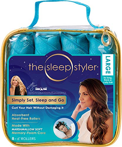 "Babyliss Hot Brush - Allstar Innovations Sleep Styler: The heat-free Nighttime Hair Curlers for long, thick or curly hair, Large (6"" Rollers), 8 Count, As Seen on Shark Tank"