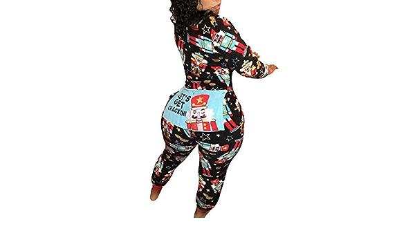 Pijamas de Navidad para Mujeres Sexy Zipper Mono Largos Moda ...