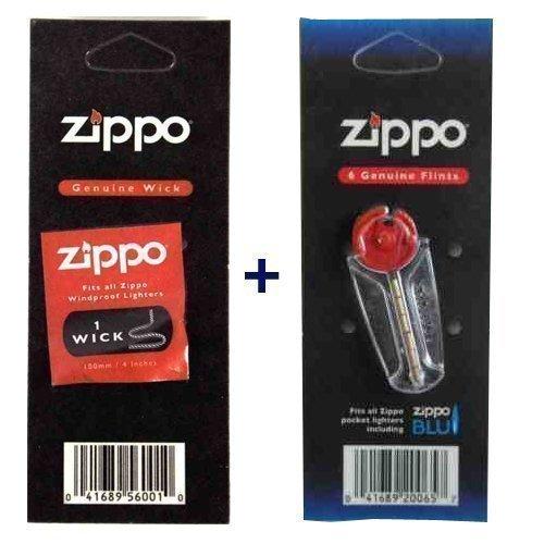 (Zippo Wick + Flint Genuine Zippo fits to all zippo windproof)