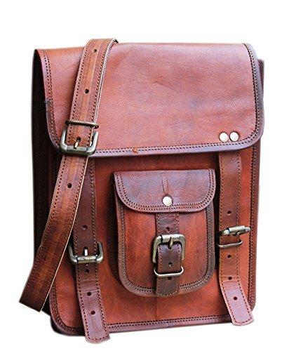 Leather 11 Inch Sturdy Leather Messenger Satchel Bag Tablet bag For Men Women