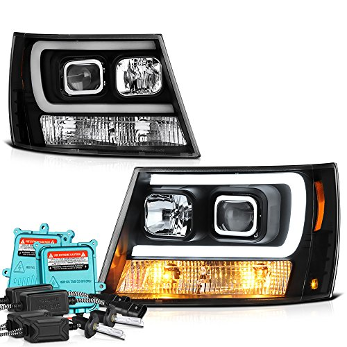 Price comparison product image [Built-In 55 Watts Xenon HID Low Beam] VIPMOTOZ OLED Tube Projector Headlight Assembly For 2007-2014 Chevy Avalanche Tahoe Suburban 1500 2500 - Matte Black Housing, Driver and Passenger Side