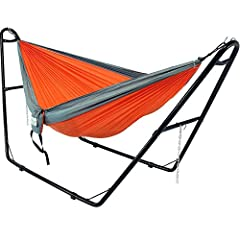 """- Lightweight nylon parachute hammock and universal multi-use hammock stand set perfect for sleeping, lounging and relaxing- Hammock is made from high-quality 210 thread count nylon- Stand is made from sturdy 1.5"""" tubular powder-coated steel-..."""