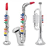 Set Of 3 Wind And Brass Musical Instruments With Color Coded Keys; Clarinet, Saxophone, Trumpet