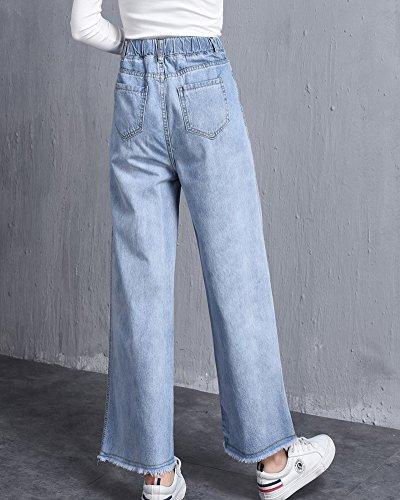 In Chiaro Shifan Vita Jeans Con Donna Gamba Larga Elastico Da A Azzurro q6axPn8q