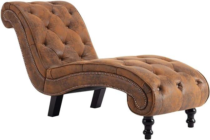 Festnight Chaise Longue Moderne Marron Chaise Longue Jardin Relax Similicuir Daim