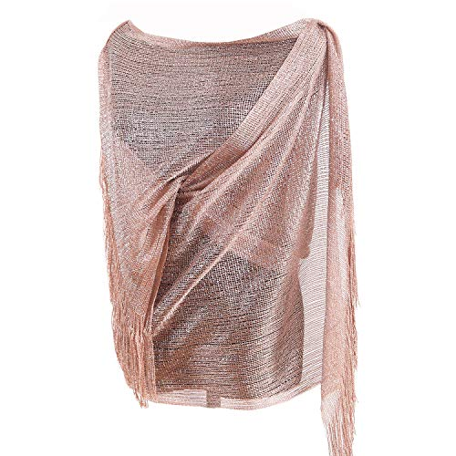 Rose Wrap - 1920s Gatsby Weddings Evening Scarfs,Sheer Glitter Sparkle Piano Shawl Wrap (Rose Gold)