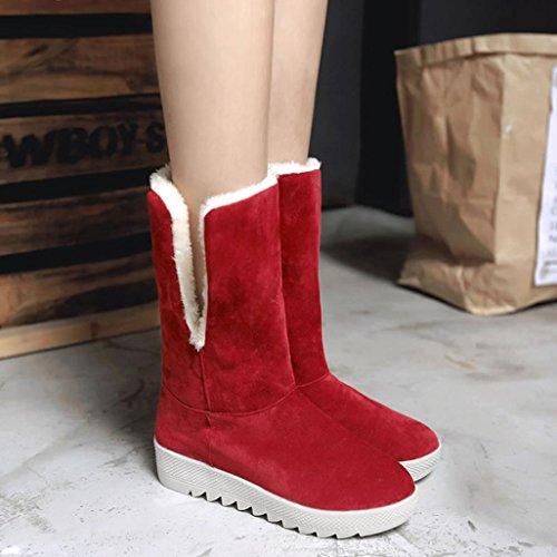 Tobillo Botas de Height Botas Botas Mujer Calientes Invierno de Heel Sky de de Zapatos 4cm Caliente Invierno Rojo Botas 5zOqW