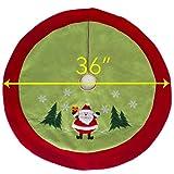 "Classic Jolly Santa Clause Christmas Tree Skirt – 36"" Xmas Tree Skirt - Green Christmas Skirt"