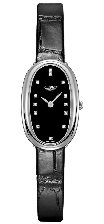 Longines Symphonette Ladiesダイヤモンドブラックダイヤル腕時計l2.305.4.57.0 B01DDXNPDO