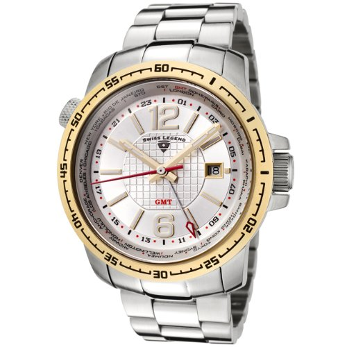 Swiss Legend Men's 90013-22S-GB World Timer GMT Collection Silver Dial Stainless Watch