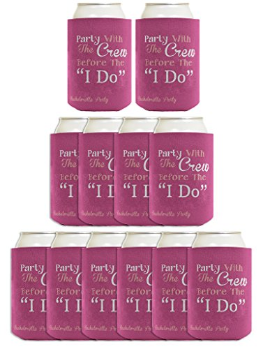 Funny Beer Coolie Bachelorette Party With Crew Before I Do Gag Gift Wedding Party 12 Pack Can Coolie Drink Coolers Coolies Dusty Rose ()