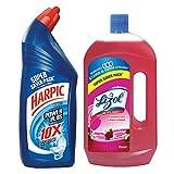 Lizol Disinfectant Floor Cleaner - 975 ml (Floral) with Harpic Powerplus Original - 1 L