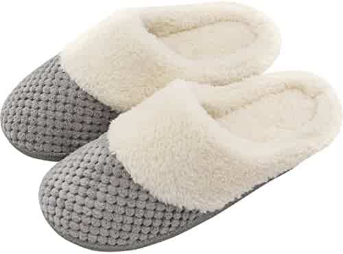Women's Soft Gridding Coral Velvet Short Plush Lining Slip-on Memory Foam Clog Indoor Slippers