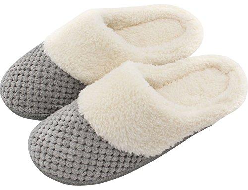 UltraIdeas Women's Soft Gridding Coral Velvet Short Plush Lining Slip-on Memory Foam Clog Indoor Slippers (Large / 9-10 B(M), Gray)