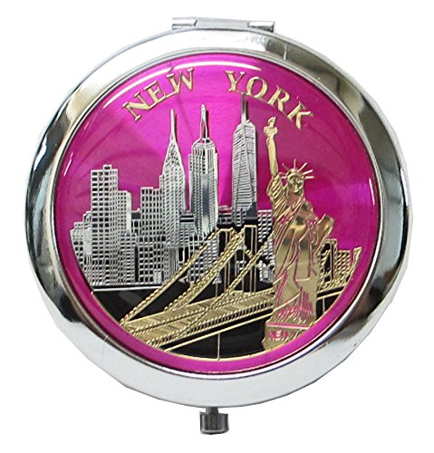 Lisa NY New York Souvenir Cosmetic Compact Stainless Steel Travel Mirror (Pink)