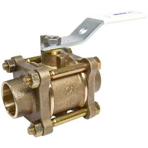 NIBCO S-595Y-66-LF Silicon Bronze Lead-Free Ball Valve, Stainless Steel Trim, Three-Piece, Lever Handle, 1/2