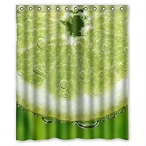 Best Seller Fresh Lemon Pattern Design Lemon Custom 100% Polyester Waterproof Shower Curtain 60 x 72