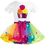 Bestow Trajes de Falda de Fiesta Conjuntos Chica Color Flor Camiseta + Traje de Gasa de Dos Piezas Ropa para niñas