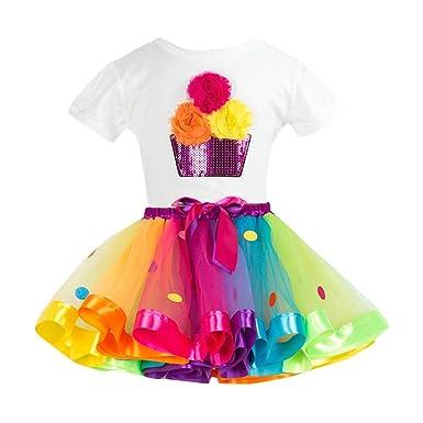 Bestow Trajes de Falda de Fiesta Conjuntos Chica Color Flor Camiseta + Traje de Gasa de Dos Piezas Ropa para niñas: Amazon.es: Ropa y accesorios