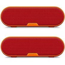 Sony SRSXB Series Portable Wireless Bluetooth Speaker (Red) Dual Pack Bundle